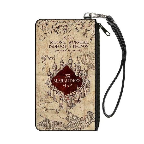 Hogwarts School The Marauder's Map Tan Reds Canvas Zipper Wallet