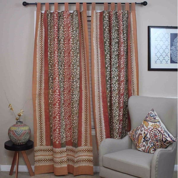 Shop Curtains for Living Room, Cotton Tab Top Floral Curtain ...