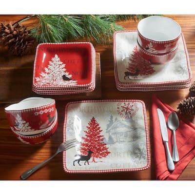 222 Fifth Northwood Cottage 12 Piece Dinnerware Set, Red