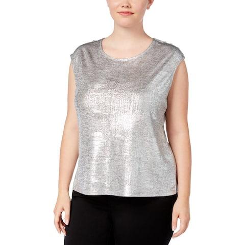 60bee88edb8ae Calvin Klein Womens Plus Box Top Metallic Button-Shoulder