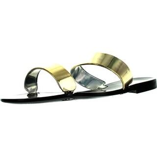 Bamboo Womens Dalia-02 Double Band Fashion Jelly Sandals - Black - 7 b(m) us