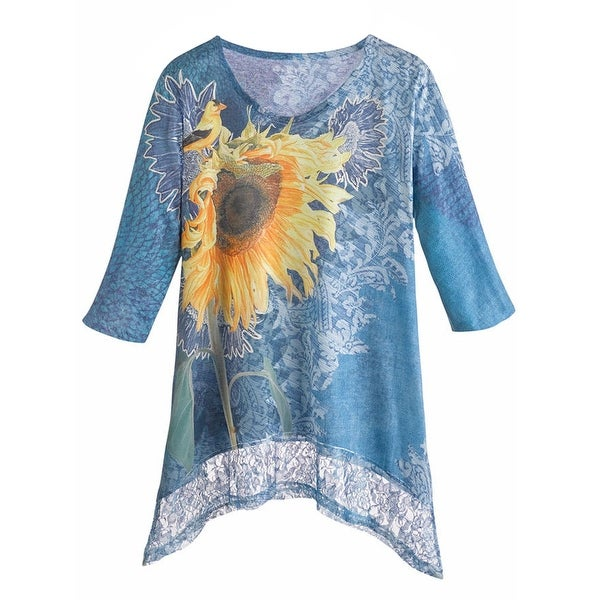 Women's Tunic Top - Blue Sunflower with Lace 3/4 Sleeve Shirt