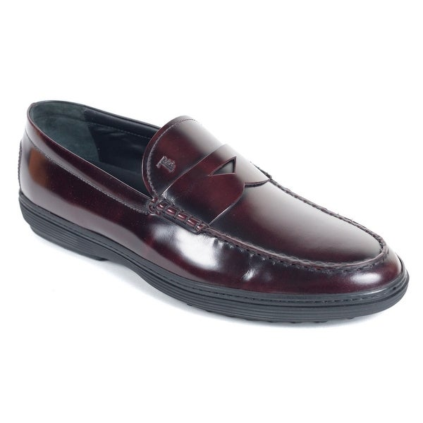 ff88c11c5f Shop Tod's Burgundy Leather Peter Penny Loafers Shoes - Free ...