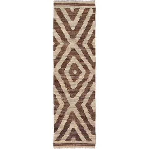 """Hand Knotted Brown Flat Weave with Wool Oriental Rug (2'8"""" x 9'10"""") - 2'8"""" x 9'10"""""""