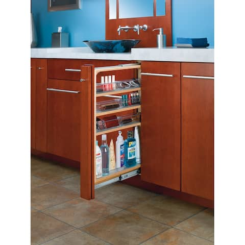 """Rev-A-Shelf 432-VF30SC-6 432-VF Series 6"""" Wide by 30"""" High Vanity Cabinet Pull Out Filler Organizer with Polycarbonate Bins -"""