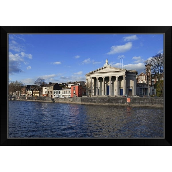 """St Mary's Church, The River Lee, Cork City, Ireland"" Black Framed Print"