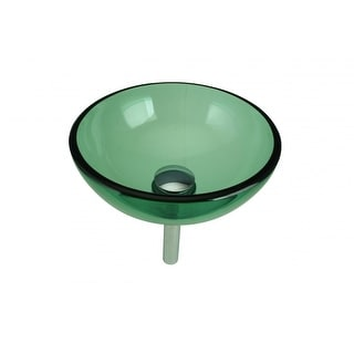 Green Mini Tempered Glass Vessel Sink With Drain | Renovators Supply