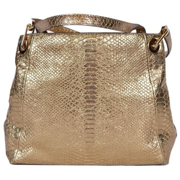 Michael Kors Raven Metallic Gold Embossed Snake Print Purse Handbag 15 X 9 5