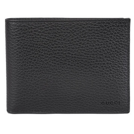 Gucci 217044 Men's Black Leather Embossed Logo Trifold Passcase ID Wallet