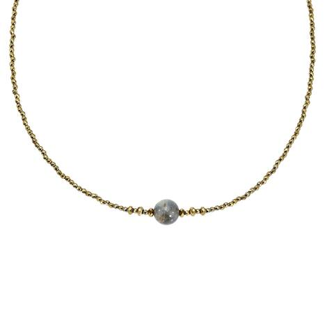 Handmade Charming Luminous Round Labradorite Fashion Beads Sterling Silver Necklace (Thailand)