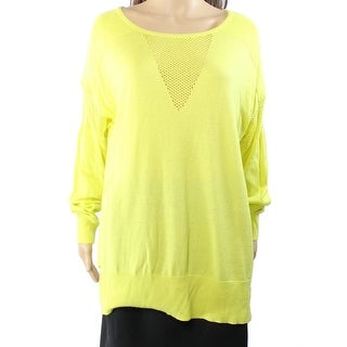 Vince Camuto NEW Yellow Women's Size Large L Illusion Boat Neck Sweater