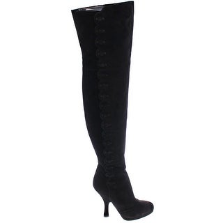 Dolce & Gabbana Black Suede Leather Over Knee Boots - 38