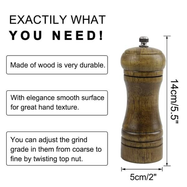 "4.5/"" Wooden Salt and Pepper Grinder Mills Shakers with Adjustable Coarseness"