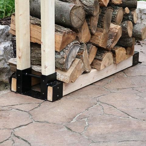 Sunnydaze DIY Log Rack Brackets Kit Steel Outdoor Adjustable Wood Storage Holder - 1