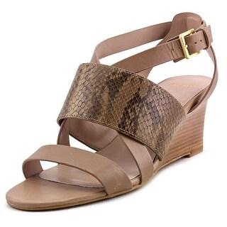 Cole Haan Helena Wedge Women Open Toe Leather Brown Wedge Sandal