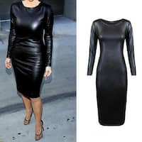 Women Fashion Sexy Long Sleeve Round Neck Faux Leather Dress Slim Party Dress