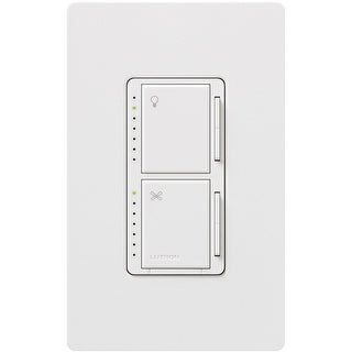 Lutron Maestro MA-LFQHW-WH Light And Fan Control With Wallplate, White