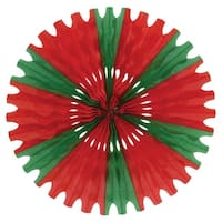 Club Pack of 12 Red and Green Tissue Fan Hanging Decorations 25""