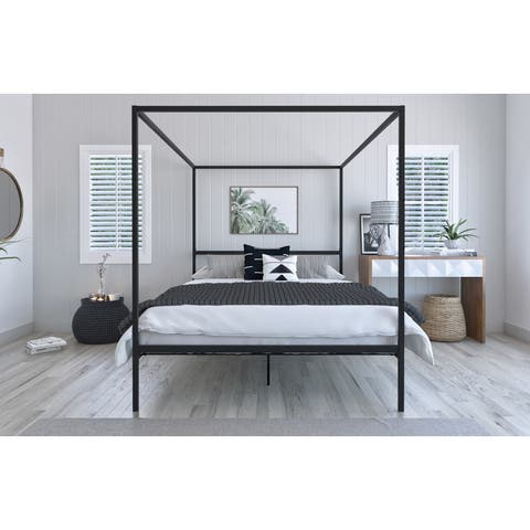 Charles Queen Canopy Bed Black