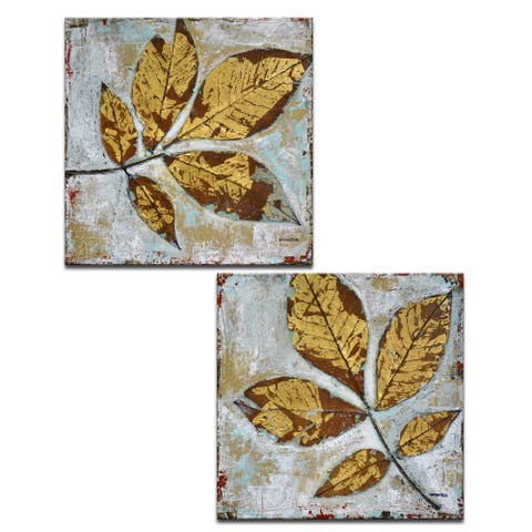 Gilded Autumn Leaves' 2 Pc Wrapped Canvas Wall Art Set by Norman Wyatt Jr.