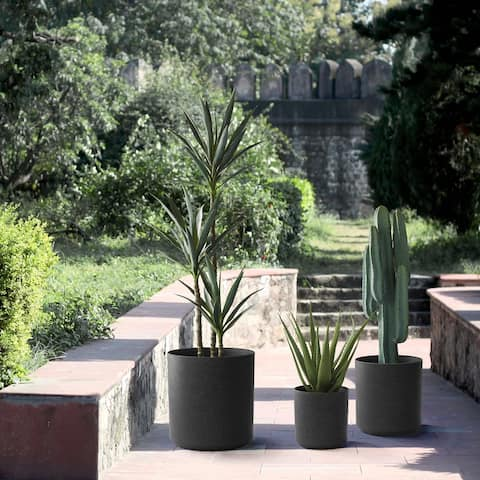 Glitzhome Set of 3 Eco-Friendly Oversized Faux Marble Plastic Pot Planters
