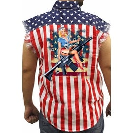 Men's Biker USA Flag Sleeveless Denim Shirt Pin Up Girl Riding Assault Rifle Gun