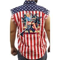 Men's Biker USA Flag Sleeveless Denim Shirt Pin Up Girl Riding Assault Rifle Gun