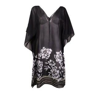 Miraclesuit Women's Floral V-Neck Caftan Swim Cover (S, Black) - S