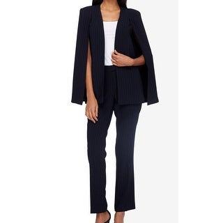 Tahari by ASL NEW Blue Women's Size 4 Pinstriped Cape Pant Suit Set