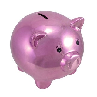 Metallic Purple Ceramic Piggy Bank 5 1/2 In.