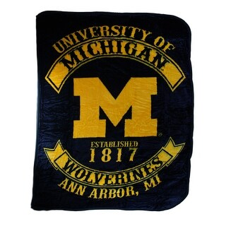 University of Michigan Wolverines Royal Plush Raschel Throw Blanket - Yellow