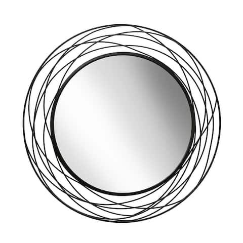 "Metal 36"" Swirl Mirror, Black Wb"