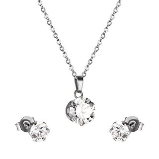 Round Cut CZ Cubic Zirconia Stud Earrings Pendant Necklace Stainless Steel