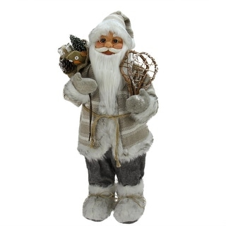"""24"""" Alpine Chic Beige and Gray Standing Santa with Snowshoes and Gift Bag"""