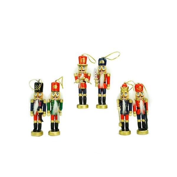 "Pack of 6 Red, Blue and Gold Wooden Christmas Nutcracker Ornaments 5"" - RED"