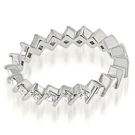1.40 cttw. 14K White Gold Stylish Bar Set Princess Cut Diamond Eternity Band