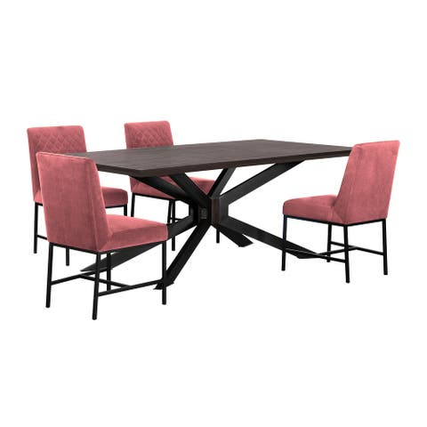5 Piece Dining Set with Diamond Stitched Back, Pink and Black