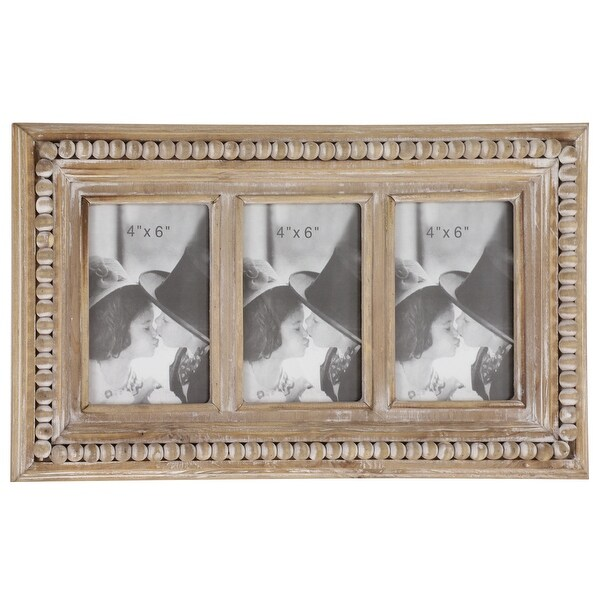 "Large Rectangular Whitewashed Wood Picture Frame Wall Decor with Three 4x6 Photo Frames and Wood Bead Trim 17"" x 10"". Opens flyout."