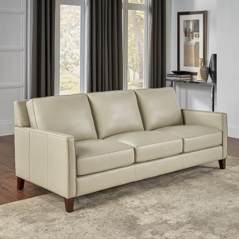 Hydeline Ashby Top Grain Leather Sofa With Feather, Memory Foam and Springs