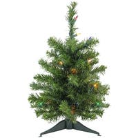 "18"" Pre-Lit Canadian Pine Artificial Christmas Tree - Multi Lights - Green"