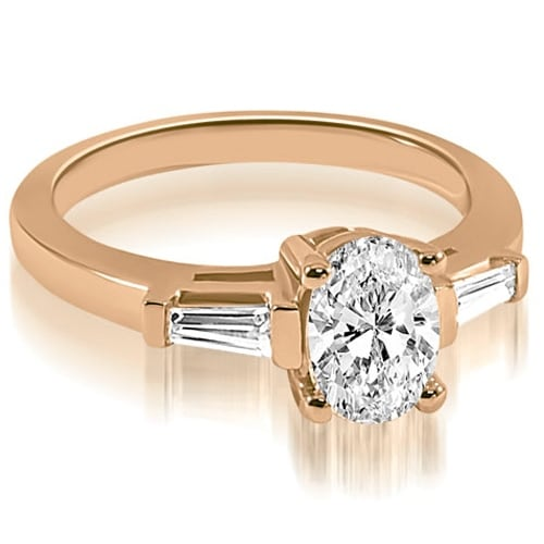0.75 cttw. 14K Rose Gold Oval and Baguette Three Stone Diamond Engagement Ring