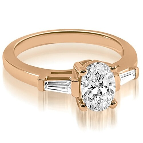 1.00 cttw. 14K Rose Gold Oval and Baguette Three Stone Diamond Engagement Ring