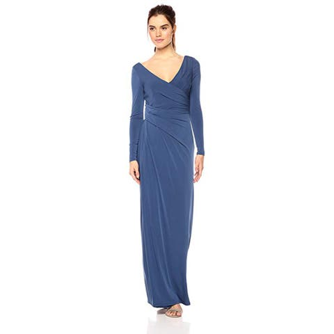2f51abe31b6 Vera Wang Women s Long Sleeve V Neck Draped Gown