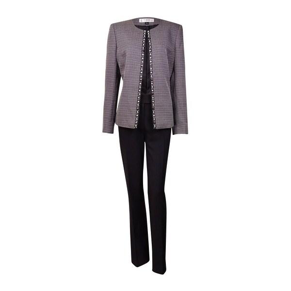 2fbf743dc6 Shop Tahari Women's Rob NYC Glamour Beaded Woven Pant Suit - Black ...