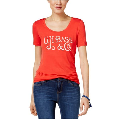 G.H. Bass & Co. Womens Solid Logo Graphic T-Shirt, red, X-Small