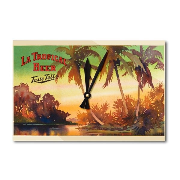 Cuba - La Tropical Beer 1955 Vintage Ad (Acrylic Wall Clock) - acrylic wall clock