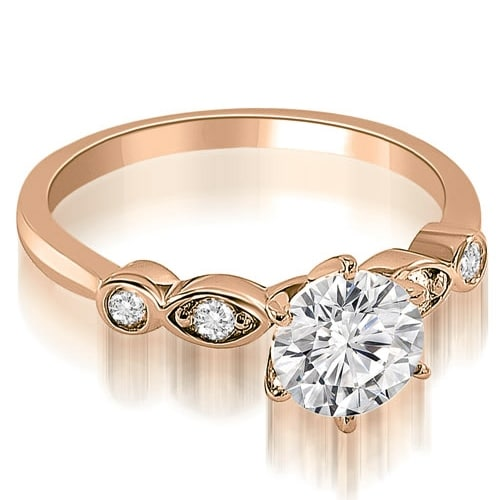 0.62 cttw. 14K Rose Gold Vintage Style Round Cut Diamond Engagement Ring