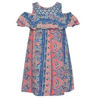 Bonnie Jean Girls Blue Art Deco Print Cold Shoulder Ruffle Dress