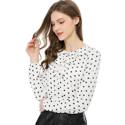 Women's Ruffle Neck Long Sleeve Vintage Polka Dots Tunics Blouse Shirt