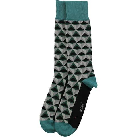 Alfani Mens Alfa Tech Triangle Dress Socks, Green, 10-13